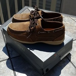 Rockport steel toe sailing tan oxford shoes